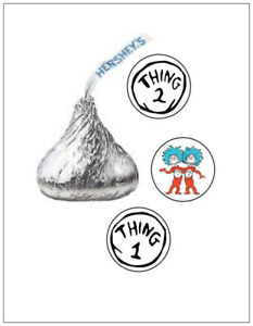 108 THING 1 AND 2 BIRTHDAY HERSHEY KISS KISSES CANDY STICKERS **