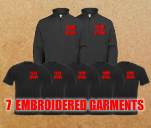 PERSONALISED EMBROIDERED BUSINESS WORK WEAR PACKAGE 2 QUARTER ZIP TOPS 5 T SHIRT