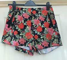 Atmosphere Floral Black Cotton Textured Shorts, Size 10 - Lovely!