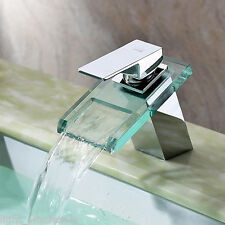 Contemporary Waterfall Glass Spout Chrome Bathroom Basin Faucet Sink Mixer Tap