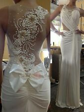 Sexy Sheer Neck Beaded Pearls Back Sheath Wedding Dress Bridal Gown Custom size