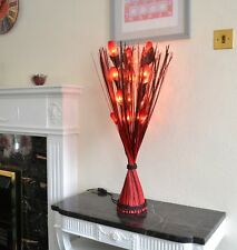 Red Orka Real Leaf Flower Light in Table Top Red / Brown Vase by Zhambala