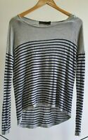 Wish Womens Size L Casual Grey Striped Soft Long Sleeve Winter Knit Top EUC