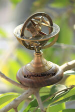 Antique Astrolabe Brass Armillary Sphere Vintage Wooden Base Nautical Armillary