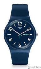 New Swiss Swatch Originals Day Date Navy Blue Silicone Strap Watch 43mm SUON705