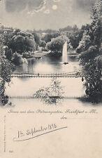 AK Frankfurt am Main 1898 Palmengarten Mondscheinkarte Brücke Springbrunnen