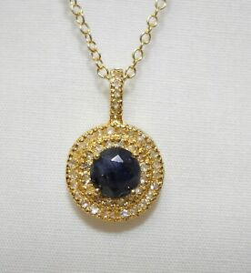 "Victoria Townsend 18"" Sapphire Necklace with White Topaz  Reg $120"