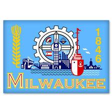 "Milwaukee Wisconsin City Flag car bumper sticker window decal 5"" x 3"""