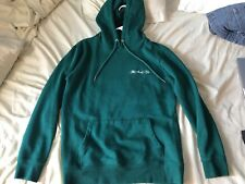 Forever 21 Men's Pullover Hoodie - Embroidered The Good Life - Green/White - XS