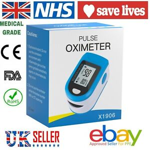 Fingertip Pulse Oximeter Monitor Blood Oxygen Saturation Heartbeat SpO2 PR PI UK