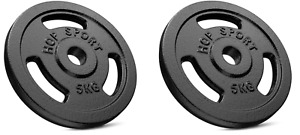 Hop Sport Cast Iron Load Set  2 x 5 kg  Black. Pro Gym  = Good Quality.