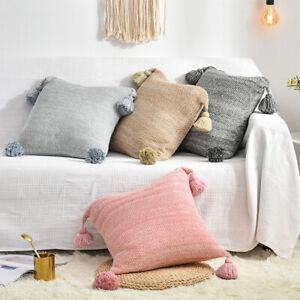 Modern Pillowcases Soft Warm Cotton Cushion Cover Pillow Case Pom Pom Home Decor