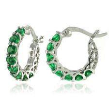 Sterling Silver Green Hoop Fine Earrings