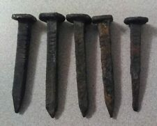 Square Nails 4 Sided Spikes 5 Antique Railroad Train Tie Markers 1925 & 1928