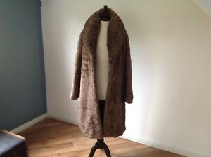 Ladies Brown Faux Fur Coat By CLEMENTS RIBEIRO PORTOBELLO . Size L .14-16
