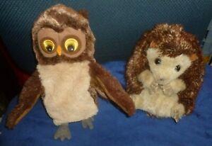 Lot/2 Plush Brown HAND PUPPETS: FOLKMANIS HEDGEHOG & Ikea VANDRING UGGLA OWL Exc