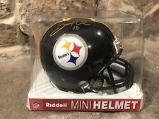 Santonio Holmes Ohio State Pittsburgh Steelers Signed Auto Riddell Mini Helmet