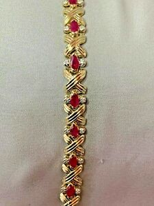 ESTATE 14K YELLOW GOLD RUBY AND DIAMOND BRACELET