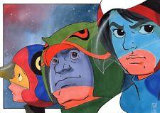 Retro A5 Art Print Original Art by Alex Mines- Battle Of The Planets / Gatchaman