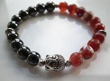 Black Hematite & Red Fire Agate Silver Buddha Crystal Gemstone Bracelet Unisex