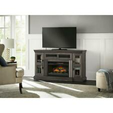 Electric Fireplace Tv Stand 60 in. Programmable Thermostat Gray Aged Oak