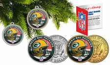 GREEN BAY PACKERS Christmas Tree Ornaments JFK Half Dollar US 2-Coin Set NFL