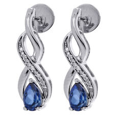 Diamond Pear Created Blue Sapphire Dangle Earrings Infinity White Gold 1.15 Tcw