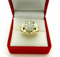 1 CT Round Cut Diamond Pinky Men's Wedding Flower Band Ring 14k Yellow Gold Over