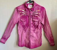Roar Women's Size M Western Shirt Button Snap Up Signature Distressed Crystals