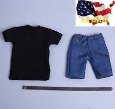 1/6 men summer black shirt short Jeans hot toys phicen muscular Ganghood ❶USA❶