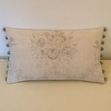 """NEW Kate Forman Sophia Grey Linen Fabric 20""""x12"""" Pom Pom or Piped Cushion Cover"""