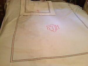 Vintage E. Braun & Co. NY,  Bedspread & Sham Twin Cotton 'Italian Weave' Ivory