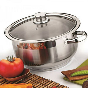 Stainless Steel Casserole Stockpot Induction Base Large Deep Stock Pot Glass Lid