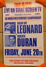 Mint Original 1980 Sugar Ray Leonard Vs. Roberto Duran Vintage Boxing Poster