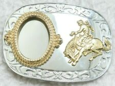 Western Rodeo Unbranded Belt Buckle Metal Silver Gray Mirror Finish Horse Cowboy