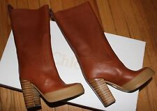 "AUTHENTIC! 1370 CHLOE TEAK BROWN 4.5"" HEEL  LEATHER BOOTS SZ 37EU/ 7 US"