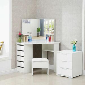 White Wood Corner Dressing Table Corner Makeup Desk 5 Drawer 3 Mirror and Stool