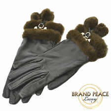 Hermes leather glove knitted mink fur with black silver metal Free Shipping