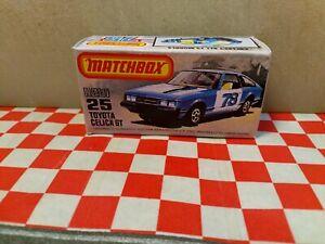 Matchbox Superfast No25  Toyota Celica GT EMPTY Repro  Box  NO CAR