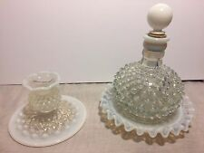 FENTON French Opalescent Hobnail Vanity Perfume Bottle w/Stopper & Candleholder