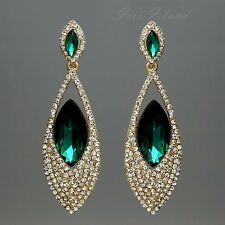 Cute 18K Gold Plated GP Green Crystal Rhinestone Drop Dangle Earrings 0474 Party