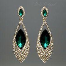 Cute 18K Gold Plated GP Green Crystal Rhinestone Drop Dangle Earrings 0474 Party