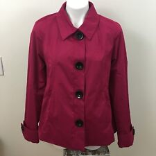 Colebrook Classics Women's Berry Pink Button Up Collard Jacket Size Large (ax)