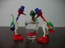 LOT 3 X Novelty Vintage Drinking Dippy Lucky Happy Glass Bird Dipping RetRo Toy