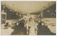 ANTIQUE BATHROOM STORE FIXTURES TOILET BATH TIFFANY STYLE LAMP OLD RPPC PHOTO