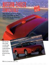 1993 NISSAN 240SX CONVERTIBLE  ~  ORIGINAL 3-PAGE ARTICLE / AD