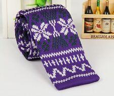 Men's Necktie White Snow Knit Tie Knitted Tie Narrow Slim Skinny Wove ZZLD339