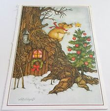 Used Vtg Christmas Card FRONT ONLY Mouse Putting Star on Tree