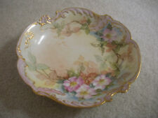 VINTAGE CORONET LIMOGES FRANCE PLATE HAND PAINTED SCALLOPED FLORAL APPLE BLOSSOM