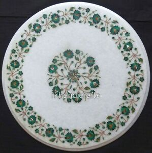 18 Inches White Marble Corner Table Inlay Side Table with Malachite Stone Work